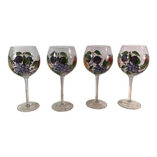 Hand Painted Fruit Design Wine Glasses - Set of 4