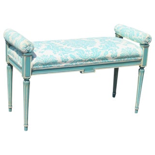 Louis XVI Style Turquoise Painted Bench