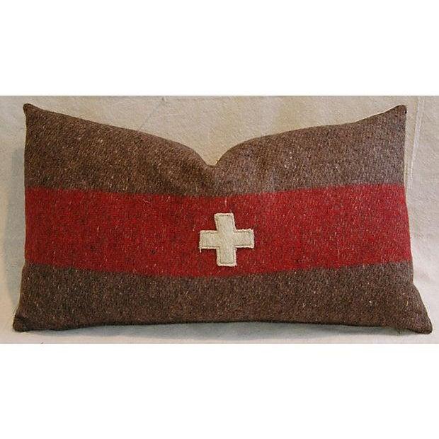 Swiss Wool Appliqué Cross Lumbar Pillows - Pair - Image 7 of 8