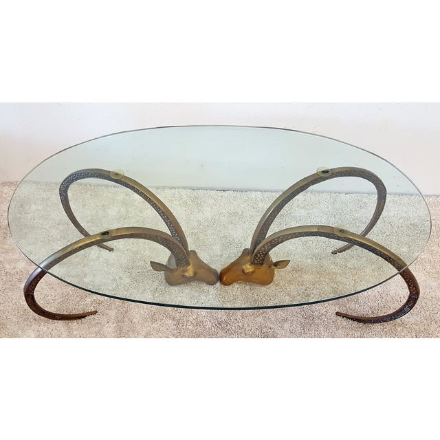 Patinated Brass Ibex Coffee Table After Chervet - Image 3 of 4