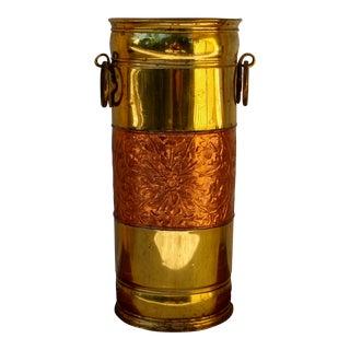 Vintage Brass & Copper Umbrella Stand