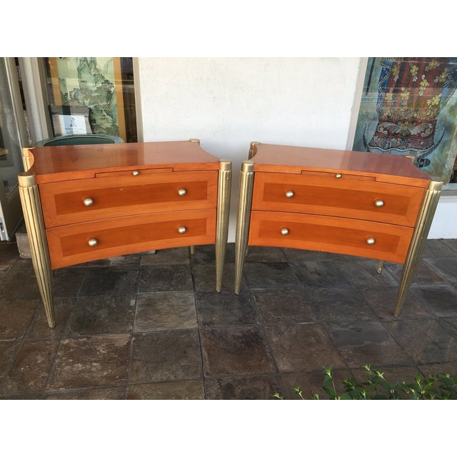 Art Deco Custom Cherry Nighstands - A Pair - Image 2 of 10