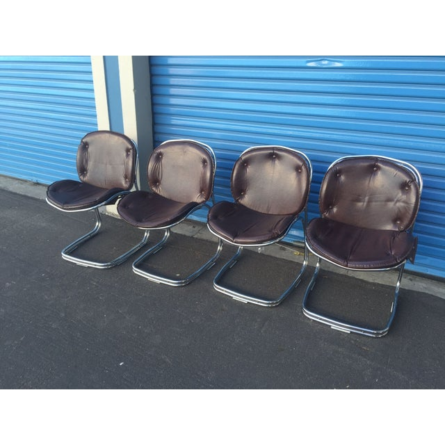Mid-Century Brown and Chrome Office Chairs - 4 - Image 2 of 5