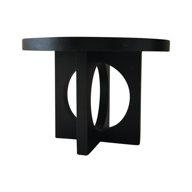 West Elm Black Round Cut Out Dining Table - Image 1 of 4