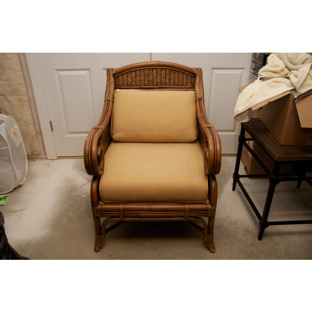 Rattan Wicker Chair & Ottoman W/ Upholstered Seat - Image 3 of 9
