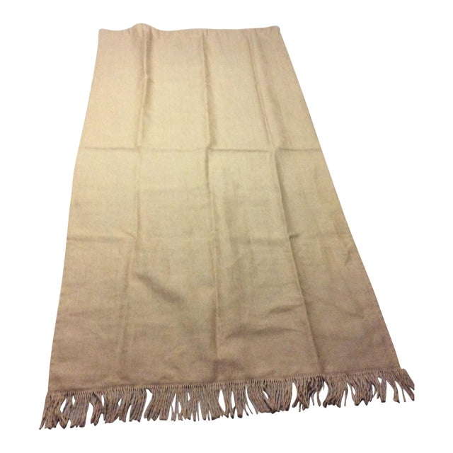 Ballard Lined Burlap Fringed Drapes- A Pair - Image 1 of 6