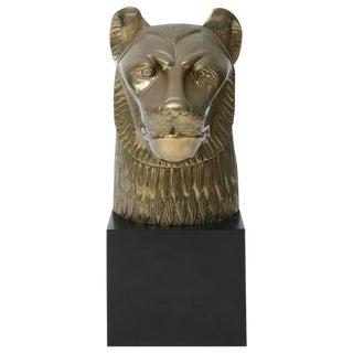 Chapman Egyptian Style Brass Plated Lioness Goddess Sekhmet Sculpture