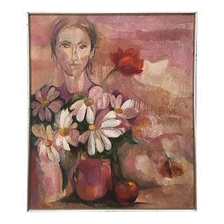 Original Vintage Female Pink Portrait Painting