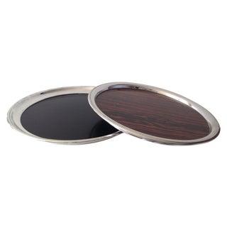 Vintage Silverplate & Wood Laminate Trays - A Pair