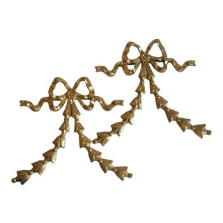 Brass Ribbon Wall Hangings - A Pair