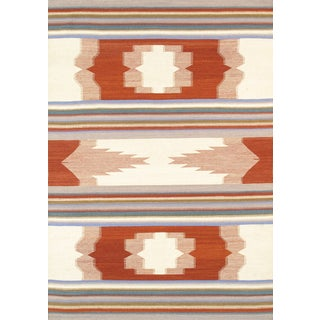 Modern Reversable Orange Wool Kilim - 5' x 8'