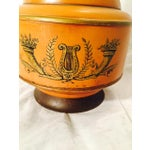 Image of Mid-Century Metal Grecian Style Painted Lamp