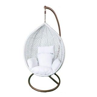 Hanging White Rattan Chair White Cushions