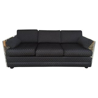 Black & Lucite Three-Seater Sofa