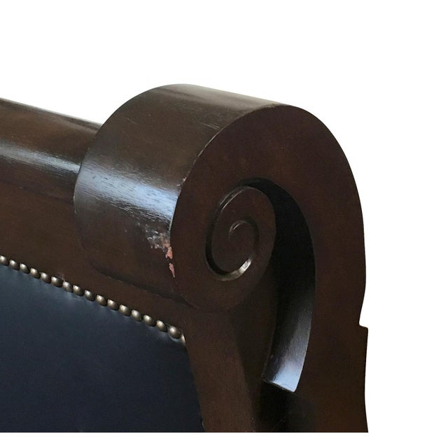 Image of 1830s Empire Sofa, Solid Mahogany & Leather