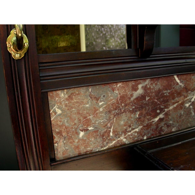 Image of Antique Eastlake Walnut And Marble Shelf Mirror