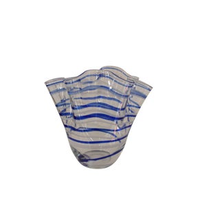 Vintage Blue Striped Handkerchief Vase