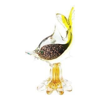 Murano Yellow Art Glass Tropical Fish