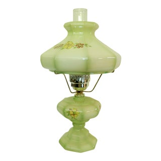 Vintage Victorian Style Green Hurricane Table Lamp