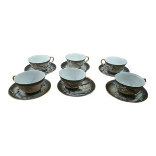 Japanese Porcelain Dragonware - Set of 6 Cups and 6 Matching Saucers