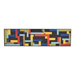 Mid-Century Wood Block Abstract Art
