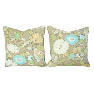 Custom Tailored Designer Linen & Velvet Floral Pillows - a Pair