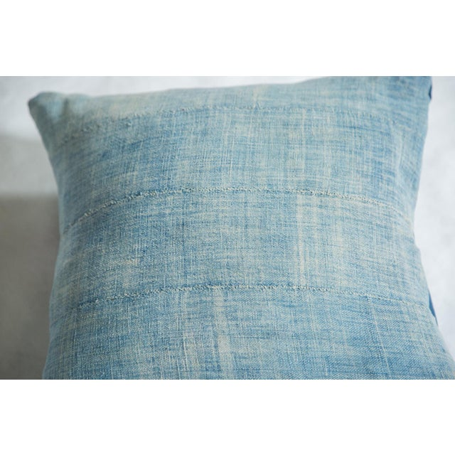 Vintage Light Blue Indigo Pillow - Image 2 of 5