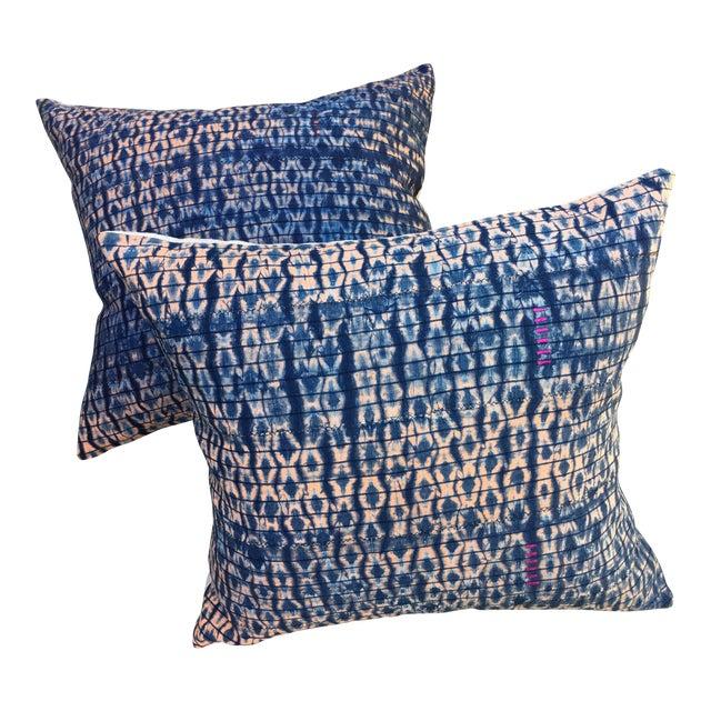 Vintage African Indigo Textile Pillows, S/2 - Image 1 of 6