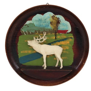 Kitschy Wood Stag Cameo Wall Art