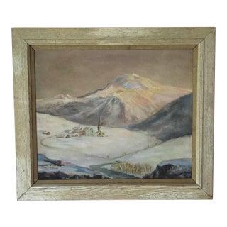 Vintage Pastel Mountain Landscape Painting