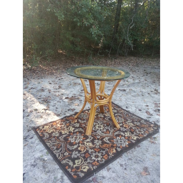 Beveled Glass Bamboo Table - Image 4 of 7
