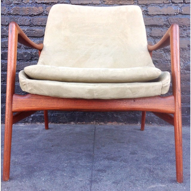 Danish Suede Lounge Chair - Image 3 of 7