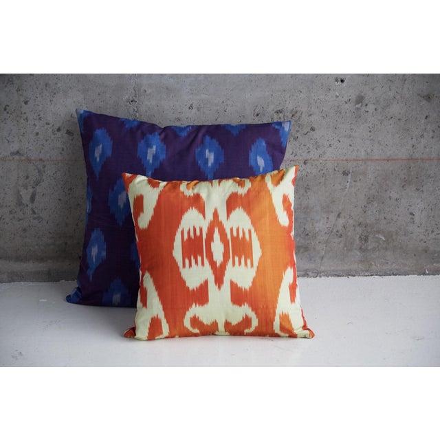 Image of Indigo Ikat Pillow From Uzbekistan