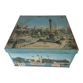 1940's Elkes Ltd. Trafalgar Large Square English Biscuit Tin Box With Lid