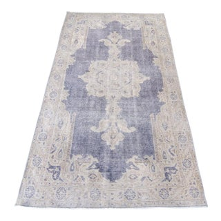 "Vintage Anatolian Isparta Oushak Wool Handwoven Distressed Area Rug - 6'6"" x 3'75"""