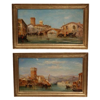 1864 Venice Oil Paintings - A Pair