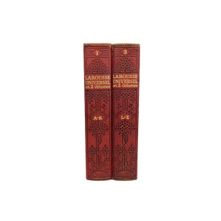 French Art Deco Leather-Bound Books - Set of 2