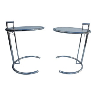 Eileen Gray Chrome Adjustable Side Tables - A Pair