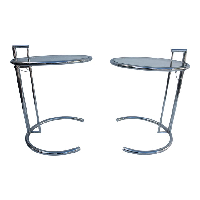 eileen gray chrome adjustable side tables a pair chairish. Black Bedroom Furniture Sets. Home Design Ideas