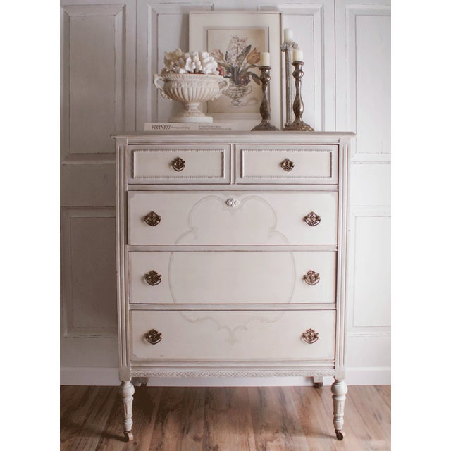 Hand-Painted Vintage Tall Dresser - Image 3 of 10