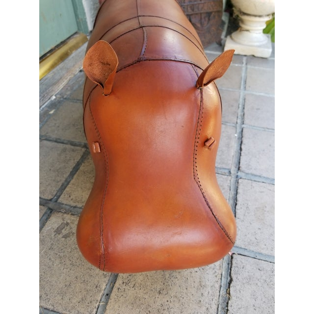 Small Leather Animal Hippo Footstool - Image 4 of 5