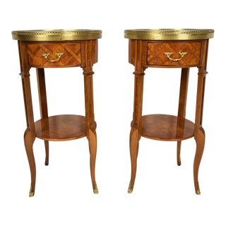 French Louis XVI Marquetry Side Tables- A Pair