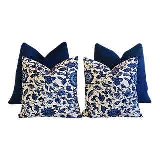 Custom Tailored Blue Velvet & Floral Feather/Down Pillows - Set of 4