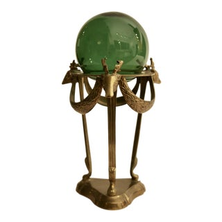 Brass Deer Display Stand with Emerald Green Glass