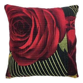 """Red Rose Vintage Kantha Pillow 16"""""""