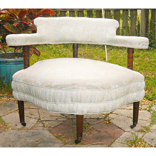Antique Victorian Walnut Tub Chair - Image 2 of 9