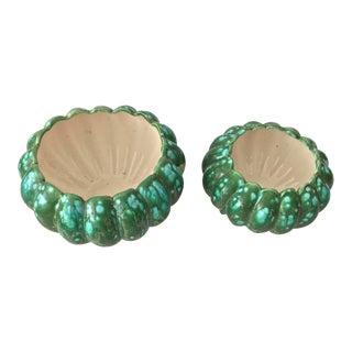 Mid-Century Modern Splatter Green/Aqua Cachepots - a Pair