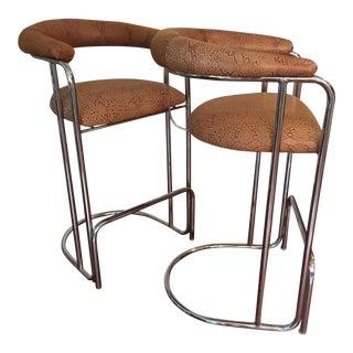 Vintage Thonet Barstools in Snakeskin - A Pair