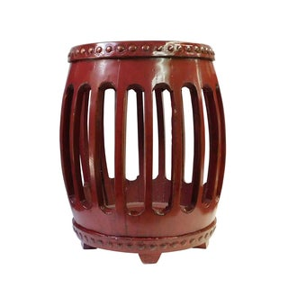 Chinese Red Round Barrel Wood Stool