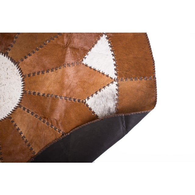 "Image of Cowhide Patchwork Round Area Rug - 5'10""x5'10"""